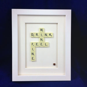Drink Wine Feel Fine Scrabble Art