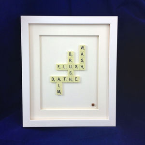 Bathroom Scrabble Art