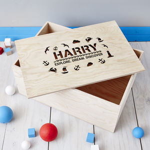 Personalised Nautical Children's Storage Crate - toy boxes & chests