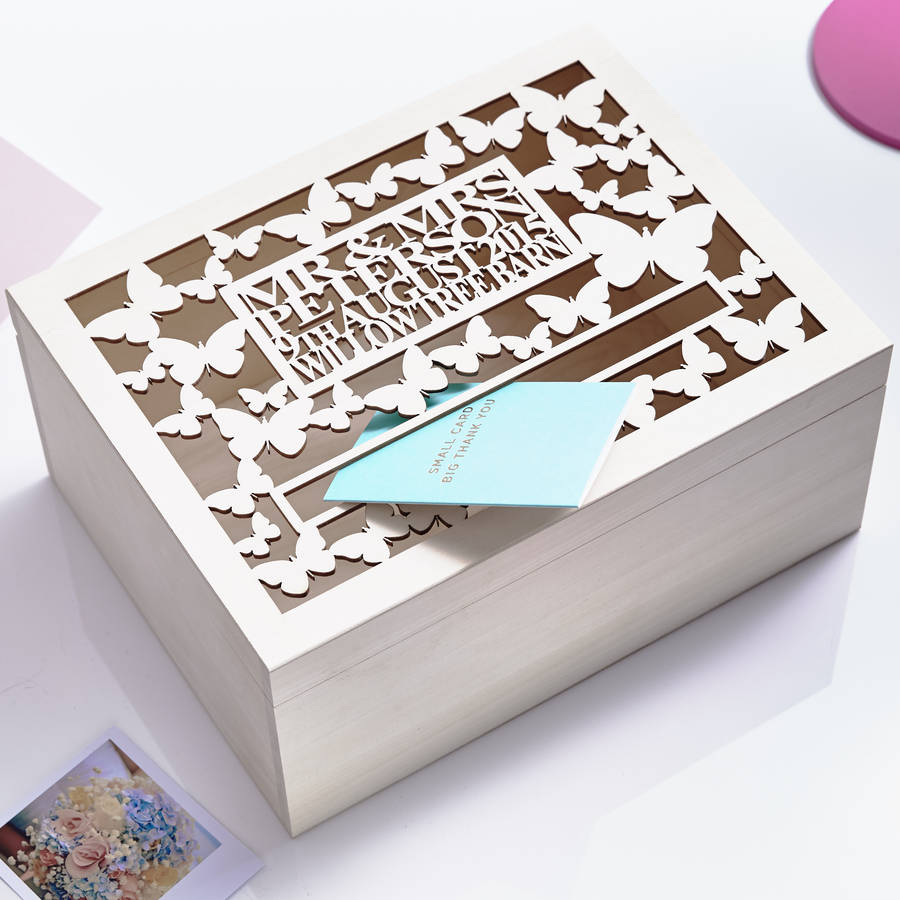Post Wedding Gifts: Personalised Butterfly Wedding Post Box By Sophia Victoria