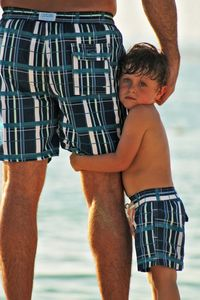 Blue Plaid Swimshorts Father And Son Matching - men's fashion