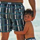 Blue Plaid Swimshorts Father And Son Matching
