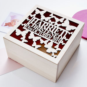 Personalised Butterfly Christening Keepsake Box - boxes, trunks & crates