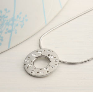 Patterned Silver And Diamond Necklace