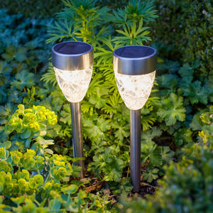 Set Of Four Warm White Prism Solar Stake Lights