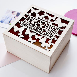 Personalised Butterfly Wedding Keepsake Box