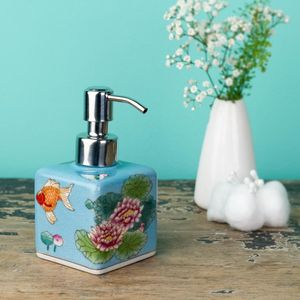 Square Hand Painted Soap Dispenser - soap dishes & dispensers