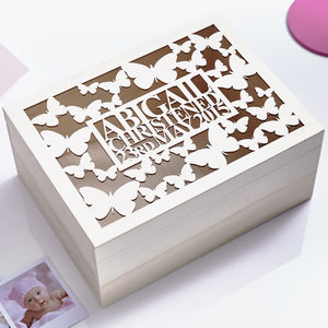 Personalised Butterfly Baby Keepsake Box - storage