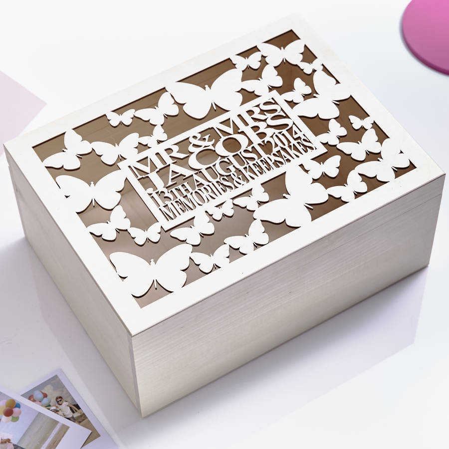 large butterfly personalised wedding keepsake box by sophia victoria ...