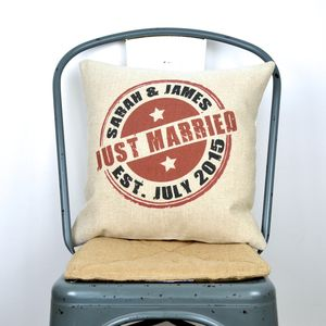 Just Married Personalised Cushion Cover