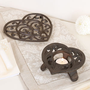 6th Anniversary Cast Iron Trivet And Candle Holder Set - votives & tea light holders