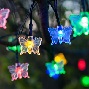 Multi Coloured Solar Butterfly Fairy Lights