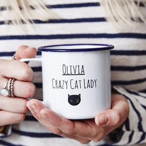 Personalised Cat Lady Enamel Mug - camping