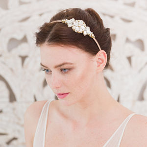 Gold Wedding Headband With Crystals And Pearls