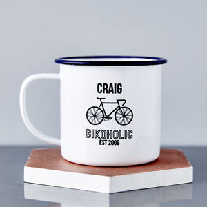 Personalised Bikoholic Enamel Mug - gifts by interest