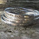 Engraved Silver Plated Sentiment Bangles