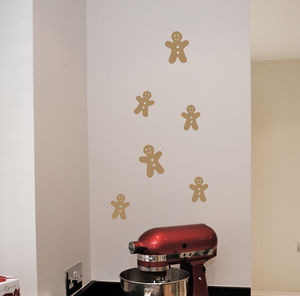 Mini Christmas Gingerbread Men Wall Stickers