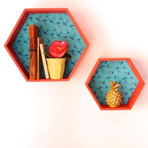 Set Of Red Hexagonal Shelf Units With Swallow Design - storage & organisers