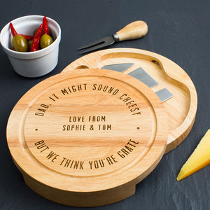 Personalised Engraved Dad's Cheese Board Set - cheese boards & knives