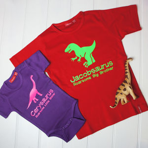 Brother And Sister Dinosaur T Shirt And Babygrow Set - personalised gifts