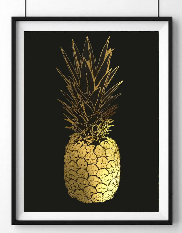 Pineapple Gold Foil Framed Art By Palm Valley