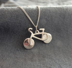 Silver Bicycle Pendant And Chain - necklaces