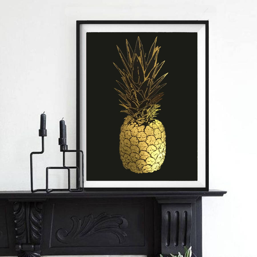 Pineapple gold foil framed art