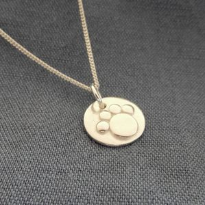 Silver Paw Print Pendant And Chain