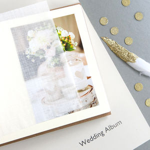 Personalised Golden Wedding Leather Photo Album - 50th anniversary: gold