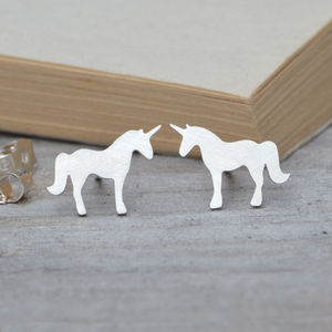 Unicorn Earring Studs In Sterling Silver