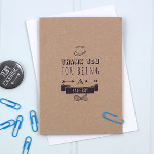 'Thank You For Being A Page Boy' Card - new in wedding styling