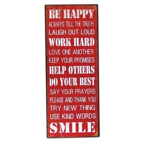 Large 'Be Happy' Vintage Metal Wall Sign