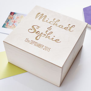 Calligraphy Personalised Couples Keepsake Box - keepsake boxes