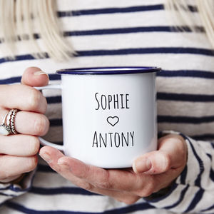 Personalised Enamel Couples Mug - picnics & barbecues