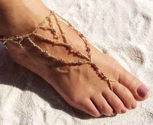 A Pair Crystal And Pearl Barefoot Sandal
