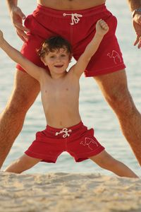Picasso Red Camel Swimshorts Father And Son Matching