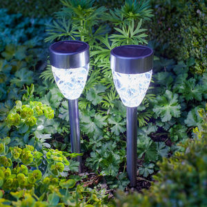 Set Of Four White Prism Solar Stake Lights - lights & lanterns