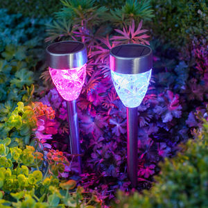 Set Of Four Colour Changing Prism Solar Stake Lights - garden sale