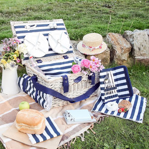 Six Person Hand Woven Wicker And Straw Picnic Hamper - boxes, trunks & crates