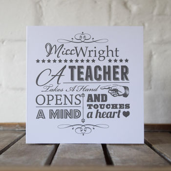 Personalised 'A Teacher' Typographic Card