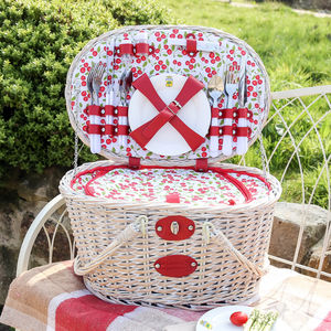 Hand Woven Wicker Picnic Hamper For Four People - boxes, trunks & crates
