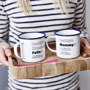 Enamel Personalised Family Mug - children's tableware