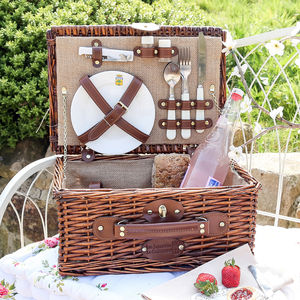 Two Person Jute And Hand Woven Willow Picnic Hamper