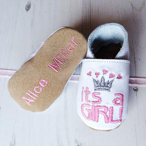 Personalised 'It's A Girl' Princess Baby Shoes