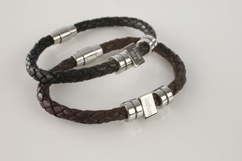 Men's Personalised Message Leather Bracelet