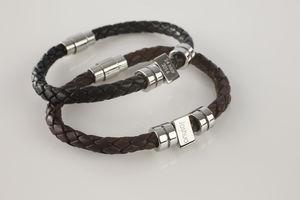Men's Personalised Message Leather Bracelet - gifts for fathers