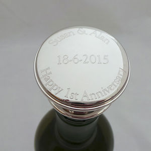 Personalised Engraved Wine Bottle Stopper - 25th anniversary: silver