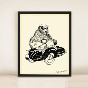 Bear And Sidecar A3 Print - nursery pictures & prints