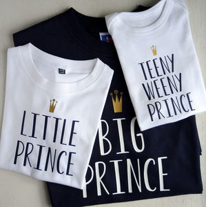 Personalised Father, Son And Baby Prince T Shirts