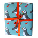 luxury Green Puffin Gift Wrap for him